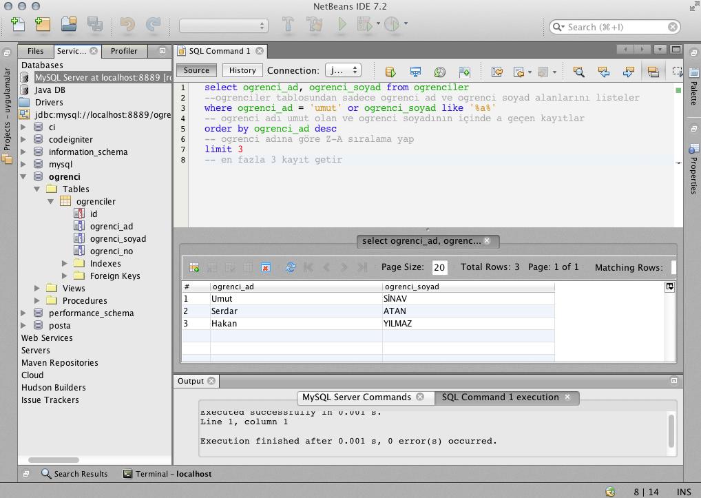 netbaens mysql SQL sorguu çalıştırma ve listeleme